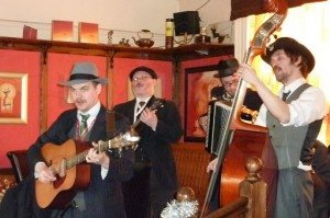 Dr Butler's Hatstand Medicine Band play at the Little John Hotel in Hathersage