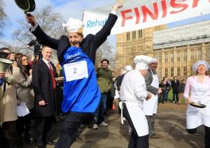 Rehab Parliamentary Pancake Race in Westminster