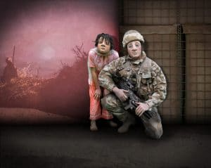Vamos Theatre - A Brave Face soldier and child