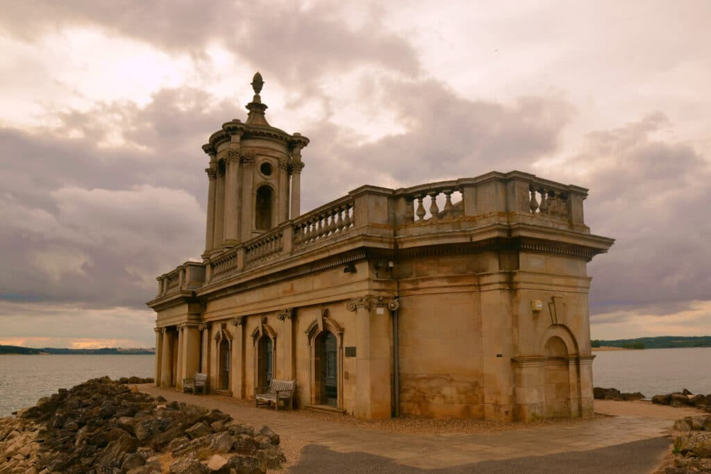 Cmglee Normanton Church at sunset, Rutland Water