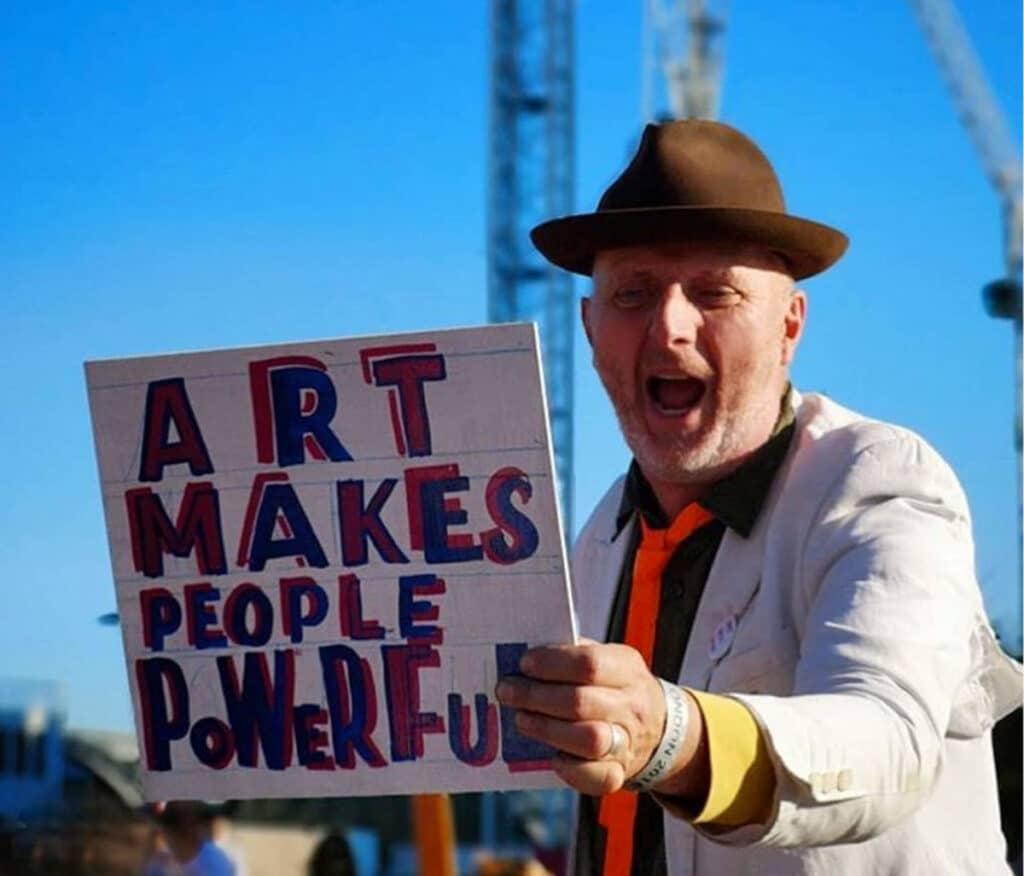 Bob and Roberta Smith, Art Car Boot Fair, King's Cross, London, 2018. Photo by Matthew Kelly