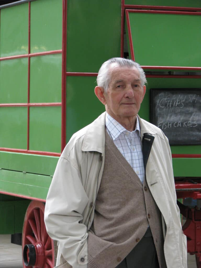 Norman Cornish in front of the Berriman's chip van that featured in a number of his paintings. Beamish Museum restored the van.