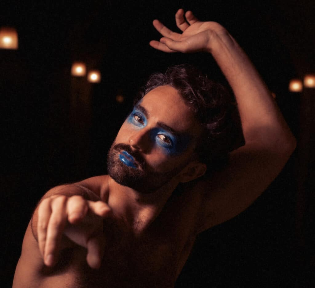 James Cousins Company, We Are As Gods, dancer Georges Hann, photo Camilla Greenwell